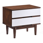 Zuo Modern La Night Stand Walnut & White