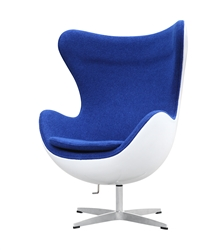Fine Mod Imports Arne Jacobsen Fiberglass Fiesta Egg Chair in Blue Wool
