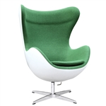 Fine Mod Imports Arne Jacobsen Fiberglass Fiesta Egg Chair in Green Wool