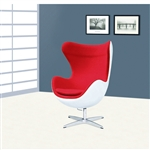 Fine Mod Imports Arne Jacobsen Fiberglass Fiesta Egg Chair in Red Wool