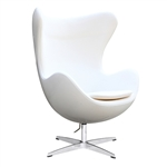 Fine Mod Imports Arne Jacobsen Fiberglass Fiesta Egg Chair in White Wool