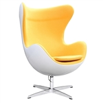 Fine Mod Imports Arne Jacobsen Fiberglass Fiesta Egg Chair in Yellow Wool