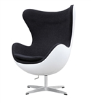 Fine Mod Imports Arne Jacobsen Fiberglass Fiesta Egg Chair in Black Wool