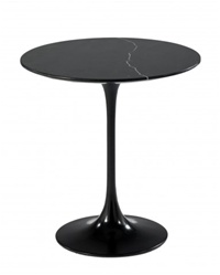 Fine Mod Imports Eero Saarinen Style Tulip End Side Table Black Marble Top