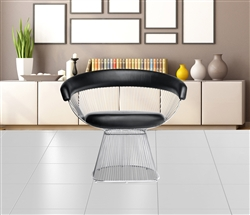Platner Libo Dining Side Chair Black Leather