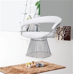 Platner Libo Dining Side Chair White Leather