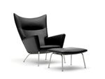 Fine Mod Imports Hans J Wegner Style Wing Chair & Ottoman In Leather