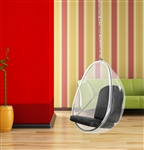 Fine Mod Imports Eero Aarnio Style Balloon Hanging Chair Black Cushion