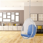 Fine Mod Imports Eero Aarnio Style Balloon Hanging Chair Blue Cushion