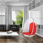Fine Mod Imports Eero Aarnio Style Balloon Hanging Chair Red Cushion