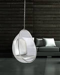 Fine Mod Imports Eero Aarnio Style Balloon Hanging Chair Silver Cushion