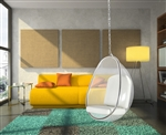 Fine Mod Imports Eero Aarnio Style Balloon Hanging Chair White Cushion