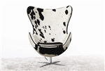 Arne Jacobsen Egg Chair In Black and White Pony Cow Hide