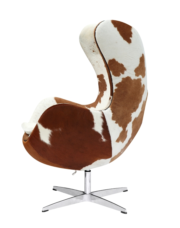 Fine Mod Imports Arne Jacobsen Egg Chair In Brown And White Pony Cow Hide