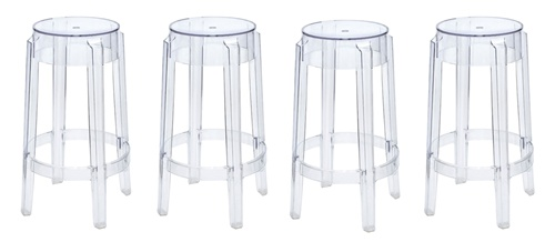 Philippe Starck Style Charles Ghost Counter Stool Set Of 4