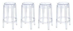 Fine Mod Imports Philippe Starck Style Charles Ghost Counter Stool Set Of 4