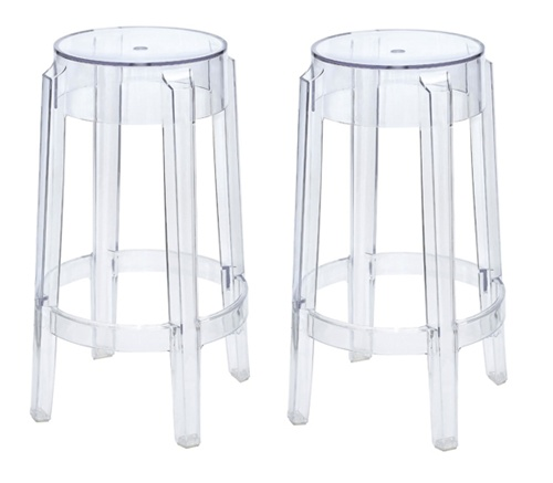 Philippe Starck Style Charles Ghost Bar Stool Set Of 2