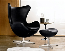 Fine Mod Imports Arne Jacobsen Egg Chair and Ottoman In Leather