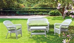 Fine Mod Imports Portside Coastal White 4-Piece Seating Set Green Cushion