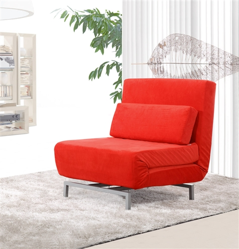 Fine Mod Imports Romano Convertible Sofa Chair In Red Fabric