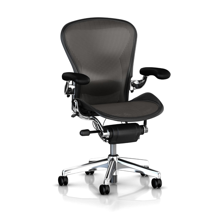 herman miller aeron chair size b semi loaded black mesh and polished aluminum base - Herman Miller Aeron Chair