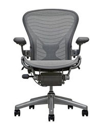 Herman Miller Aeron Chair Size B In Gray Wave With Posturefit