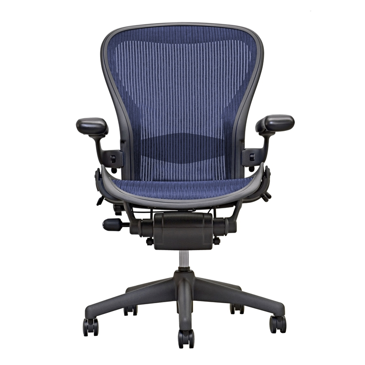 herman miller aeron chair size b loaded with options in blue - Aeron Chair Sizes