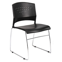Boss Black Stack Chair With Chrome Frame, 1Pc Pack