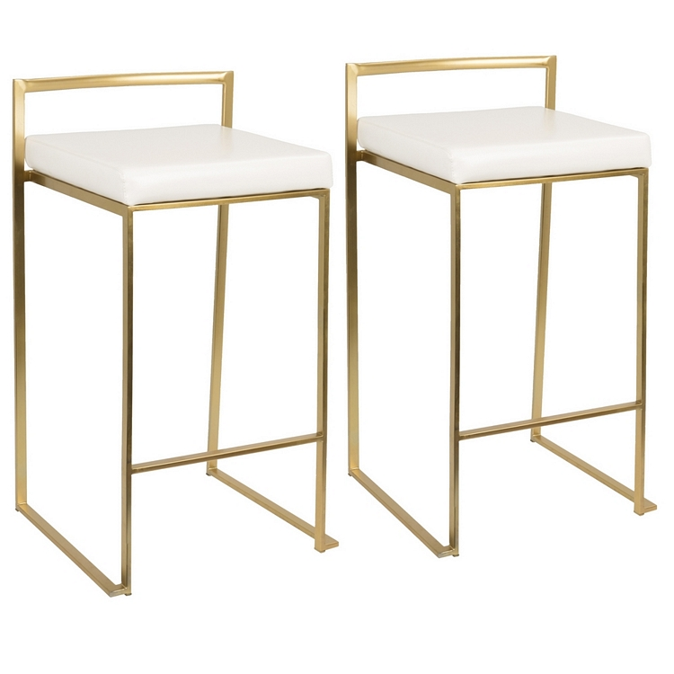 Lumisource Fuji Contemporary Counter Stool In Gold And White PU  Set Of 2