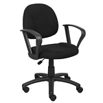 Boss Black  Deluxe Posture Chair W/ Loop Arms