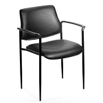 Boss Square Back  Diamond Stacking Chair W/Arm In Black Caressoft