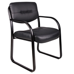 Boss Leather Sled Base Side Chair W/ Arms