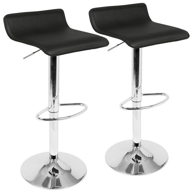 Lumisource Ale Contemporary Adjustable Barstool In Black With Chrome  Footrest  Set Of 2