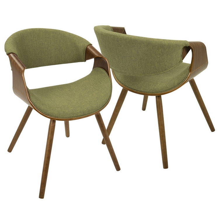 Lumisource Curvo Mid Century Modern Chair In Walnut With Green Fabric Seat