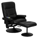 Flash Furniture Massaging Black Leather Recliner and Ottoman with Leather Wrapped Base