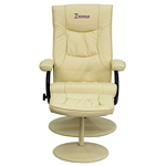 Flash Furniture Personalized Contemporary Cream Leather Recliner and Ottoman with Leather Wrapped Base
