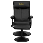 Flash Furniture Personalized Contemporary Black Leather Recliner and Ottoman with Leather Wrapped Base