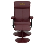 Flash Furniture Personalized Contemporary Burgundy Leather Recliner and Ottoman with Leather Wrapped Base