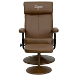 Flash Furniture Personalized Contemporary Palomino Leather Recliner and Ottoman with Leather Wrapped Base