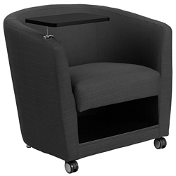 Flash Furniture Charcoal Gray Fabric Guest Chair with Tablet Arm, Front Wheel Casters and Under Seat Storage