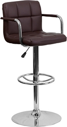 Flash Furniture Contemporary Brown Quilted Vinyl Adjustable Height Barstool with Arms and Chrome Base