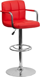 Flash Furniture Contemporary Red Quilted Vinyl Adjustable Height Barstool with Arms and Chrome Base