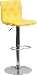 Flash Furniture Contemporary Tufted Yellow Vinyl Adjustable Height Barstool with Chrome Base