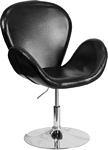 Flash Furniture Trestron Series Black Leather Side Reception Chair with Adjustable Height Seat