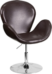 Flash Furniture Trestron Series Brown Leather Side Reception Chair with Adjustable Height Seat