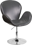 Flash Furniture Trestron Series Gray Leather Side Reception Chair with Adjustable Height Seat