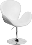 Flash Furniture Trestron Series White Leather Side Reception Chair with Adjustable Height Seat