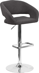Flash Furniture Contemporary Charcoal Fabric Adjustable Height Barstool with Chrome Base