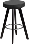 Flash Furniture Trenton Series 24'' High Contemporary Cappuccino Wood Counter Height Stool with Black Vinyl Seat