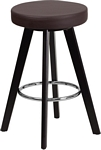 Flash Furniture Trenton Series 24'' High Contemporary Cappuccino Wood Counter Height Stool with Brown Vinyl Seat